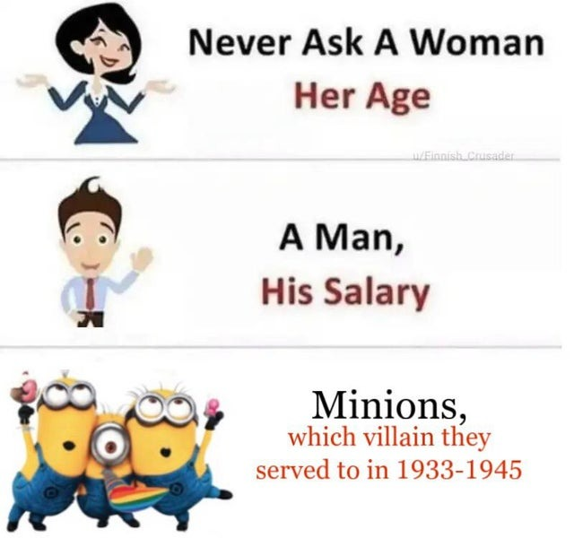 What you should never ask a woman, a man and minions - meme