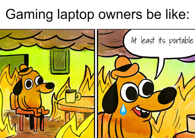 Gaming laptop owners be like - meme