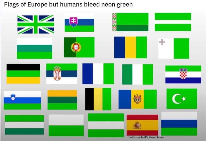 The color red on most flags represents the blood of those who fought for their freedom - meme