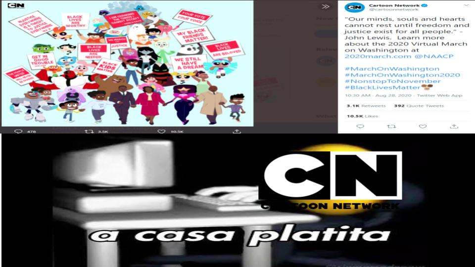explicacion rapida:el post de arriba fue creado por cartoon network para apoyar el blm (black lives matter) - meme