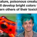 Poisonous creatures will develop bright colors to warn others of their toxicity