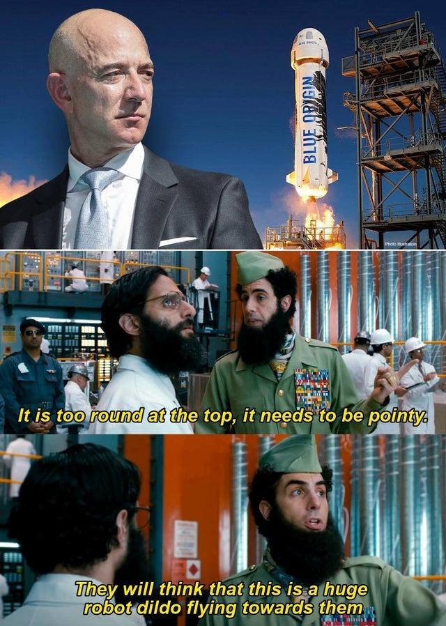 Blue Origin's ship needs to be pointy! - meme