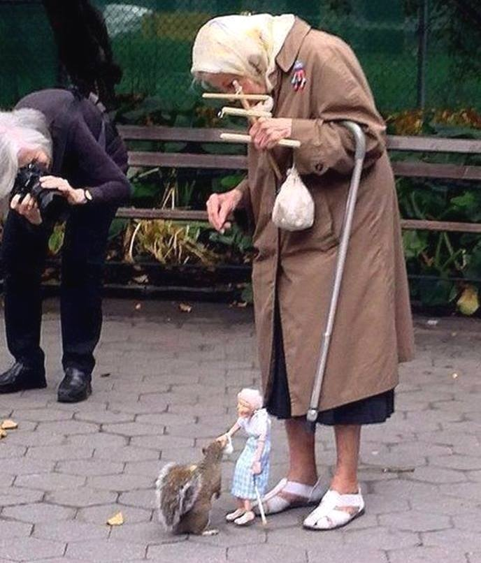 Marionete alimentando esquilo, foda-se. - meme