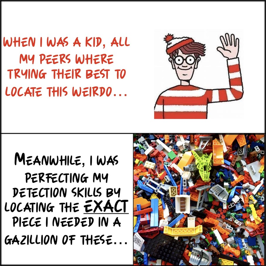 Waldo couldnt touch finding a Lego - meme