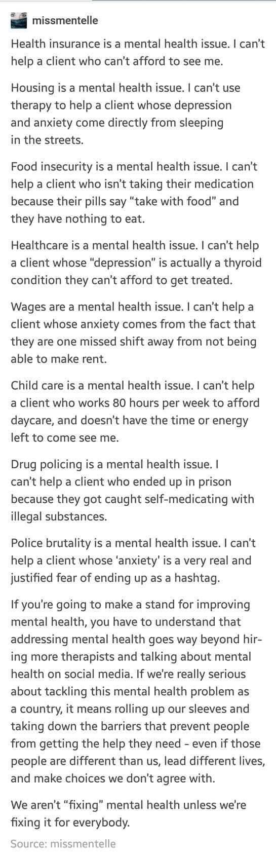mental health is an important, but complex issue - meme