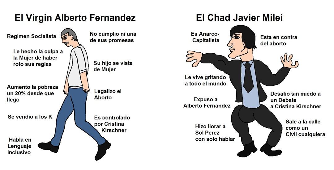 Alberto Fernandez vs Javier Milei - meme