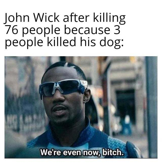 John Wick after killing 76 people because 3 people killed his dog - meme