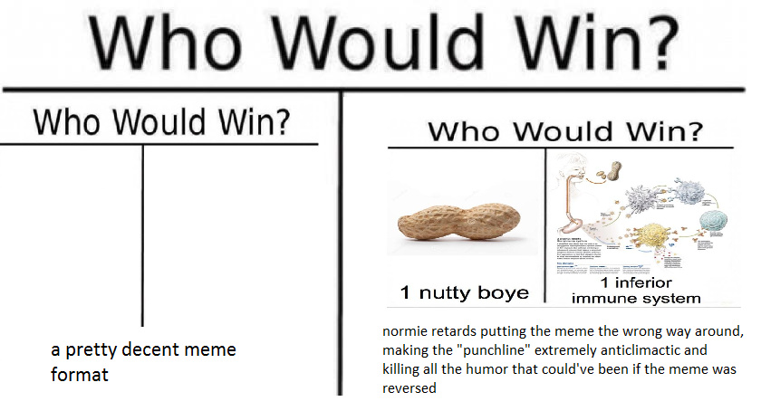 Who would win meme but normies destroy so it will be a dead meme soon