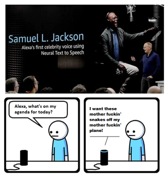 Together at last, Samuel L. Jackson and Alexa! - meme