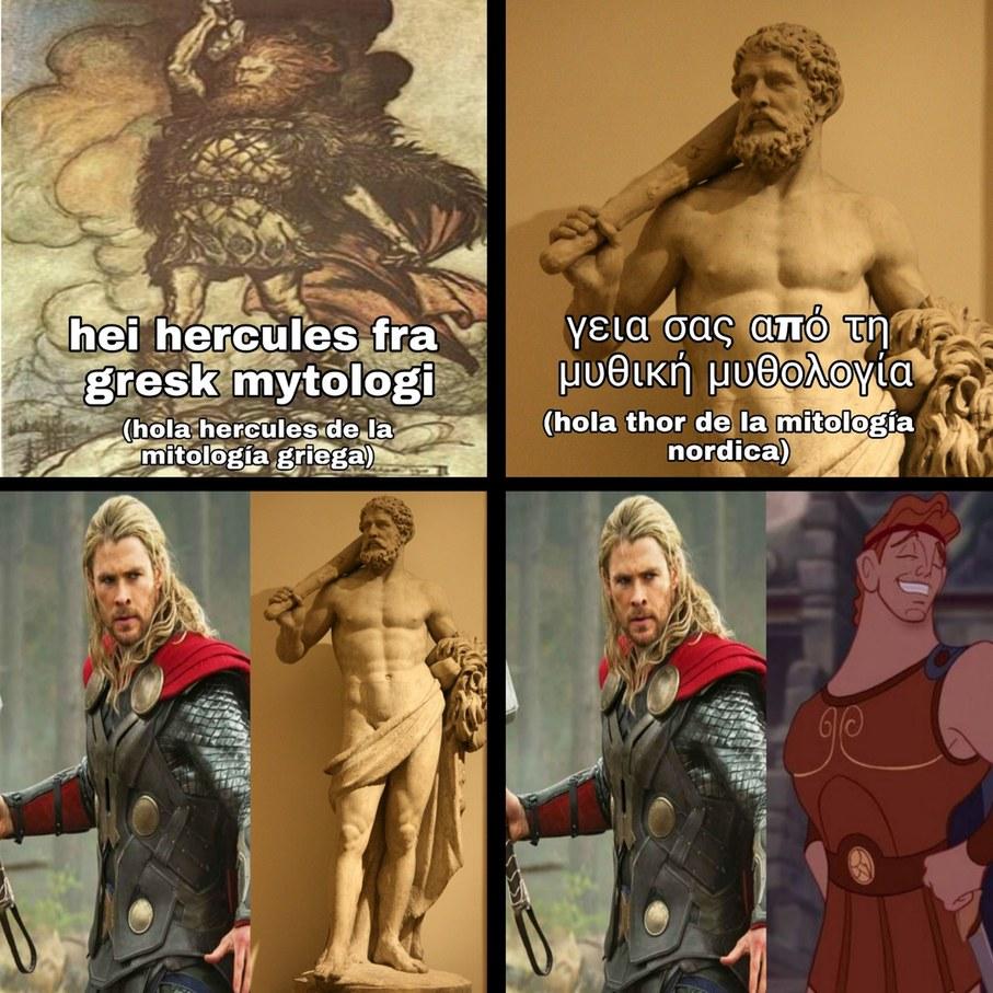 Contexto:ambas son adaptaciones de mierda que se parecen mas a superman que a sus contrapartes mitologicas - meme