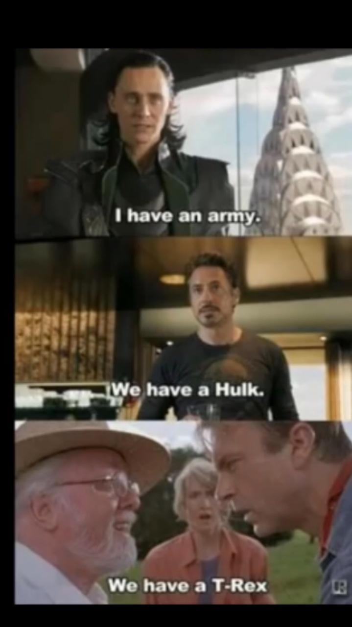 Jurassic Park>>>>>>>>>todos os filmes da Marvel - meme