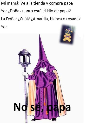 Por si no o sabian no existe solo un tipo de papa, por ejemplo en Perú hay mas de 3500 variedades de papa - meme