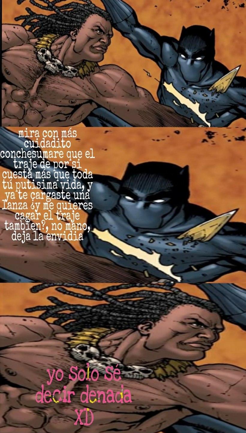 Me da risa este panel porque si te fijas bien, parece que pantera negra tiene unas cejototas xd - meme