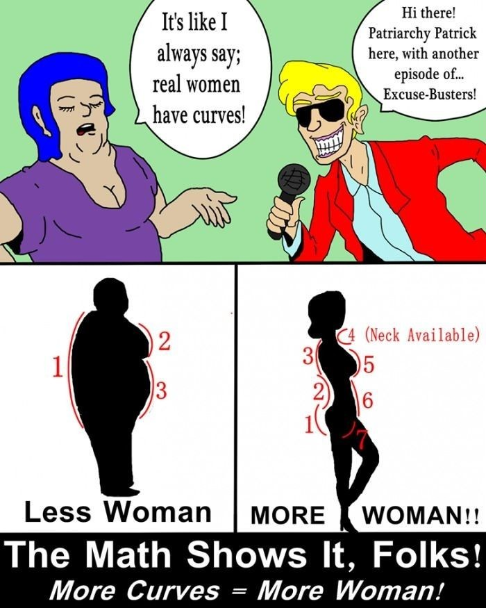 The curvature of a woman must have multiple values - meme