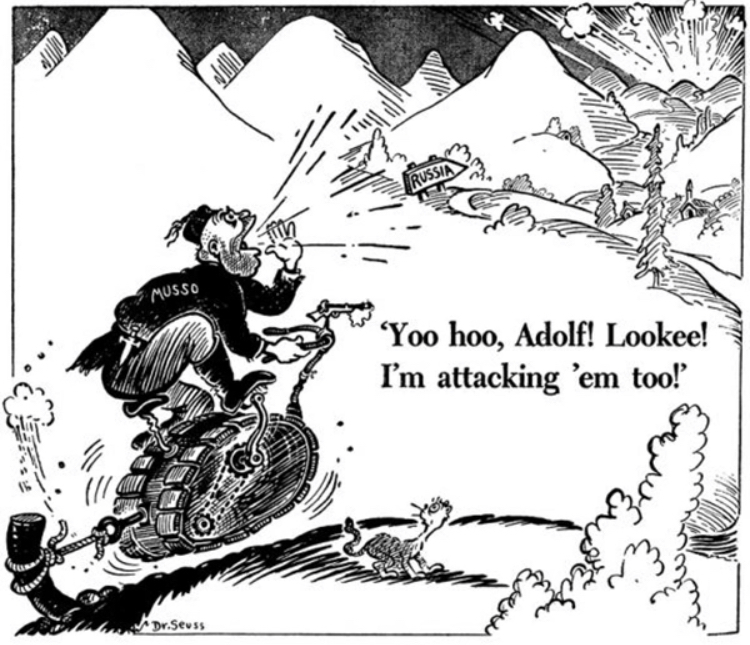 Dr. Seuss had a series of political comics in ww2 - meme