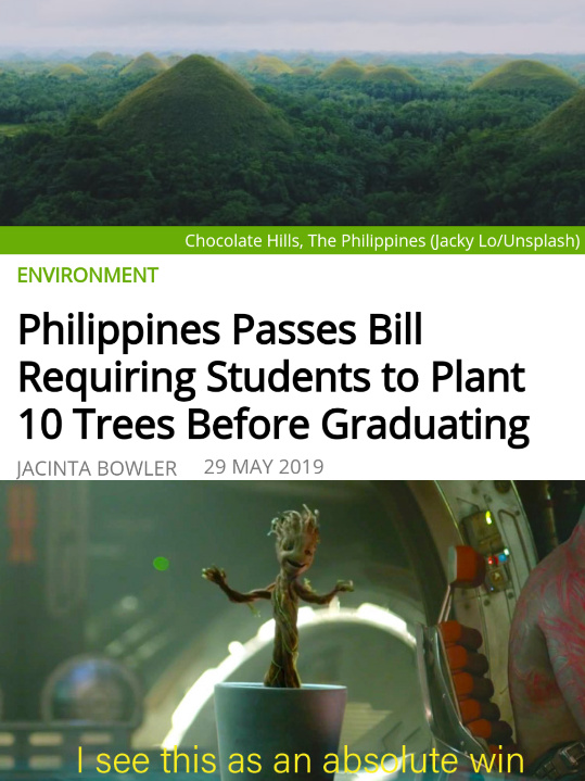 Philippines passes bill requiring students to plant 10 trees before graduating - meme