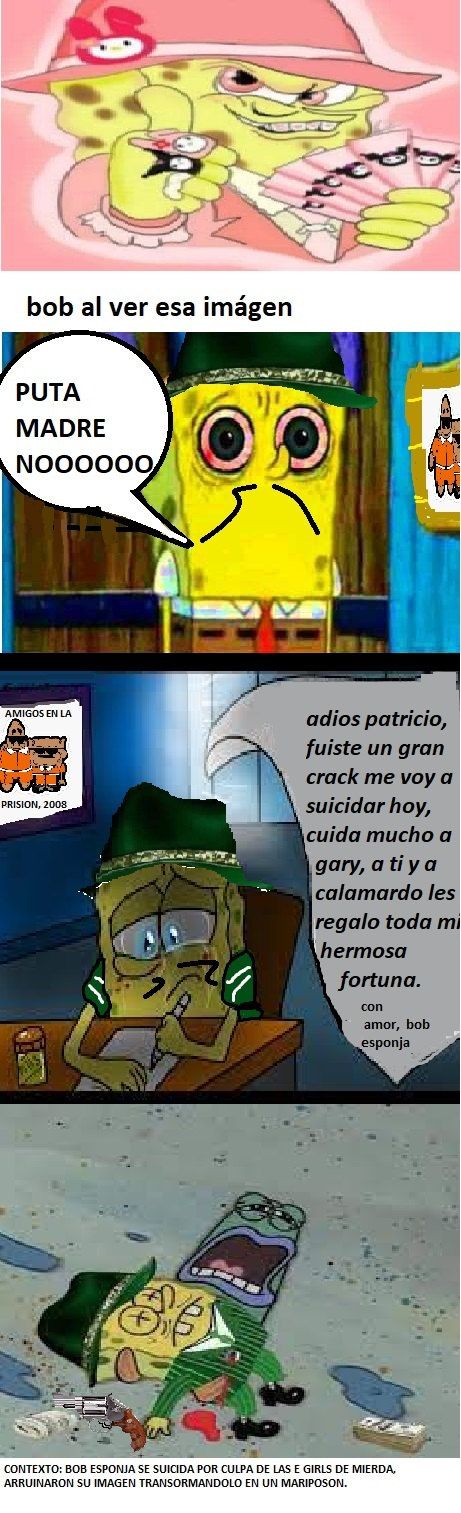 BOB CHOLO SE SUICIDA POR LAS EGIRLS DE MIERDA... COMIC HECHO EN PAINT - meme