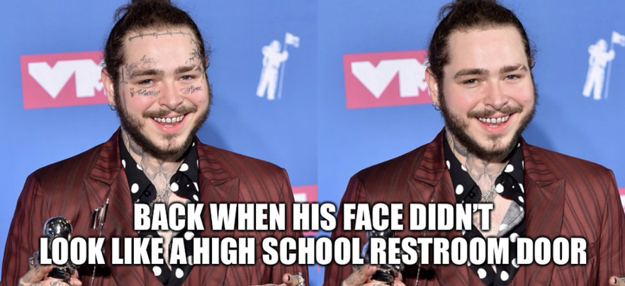 Back when his face didn't look like a high school restroom door - meme