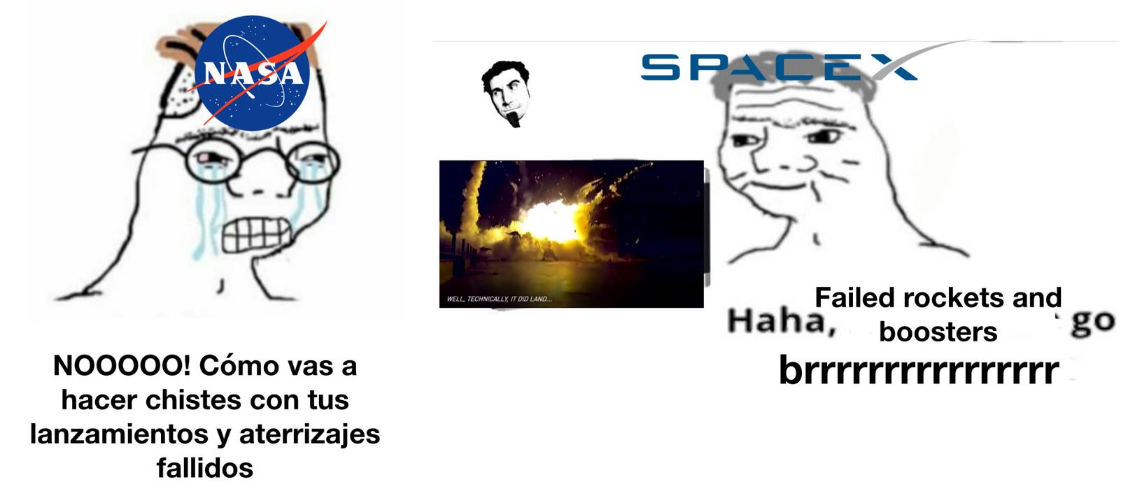 """Hay un vídeo que hicieron los de SpaceX que se llama """"How not to land an orbital rocket booster"""" En el que están todos los fallos - meme"""