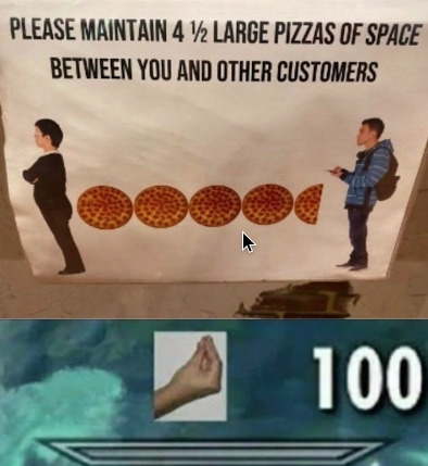 you legally have to memorize the length of a pizza there - meme