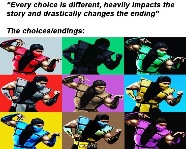 Multiple Ending games be like - meme