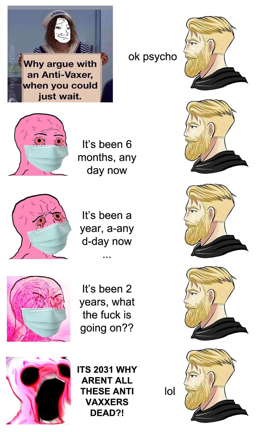"""""""Why argue with an anti-vaxxer when you can just wait"""" - meme"""