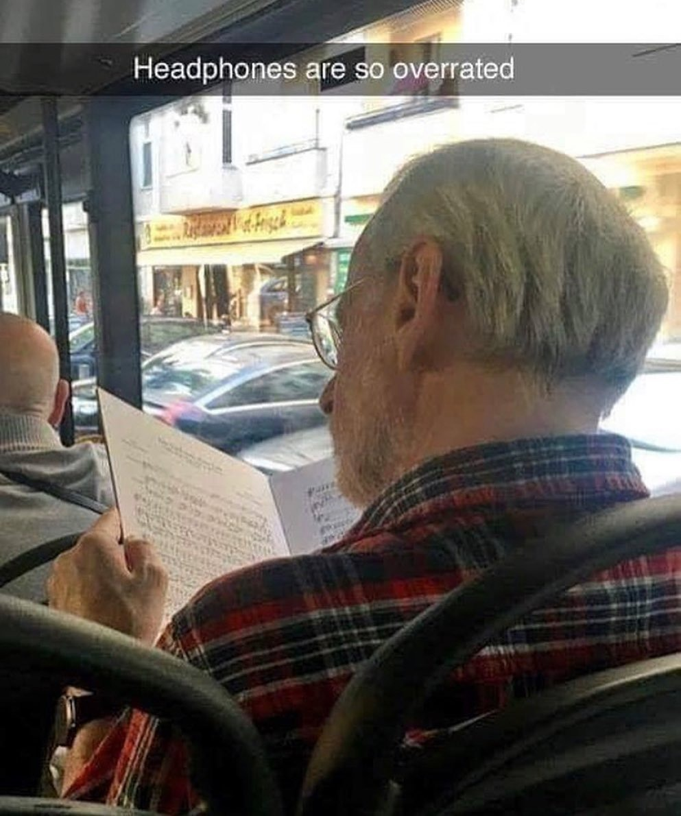 Why use earphones when you can use your brain? - meme