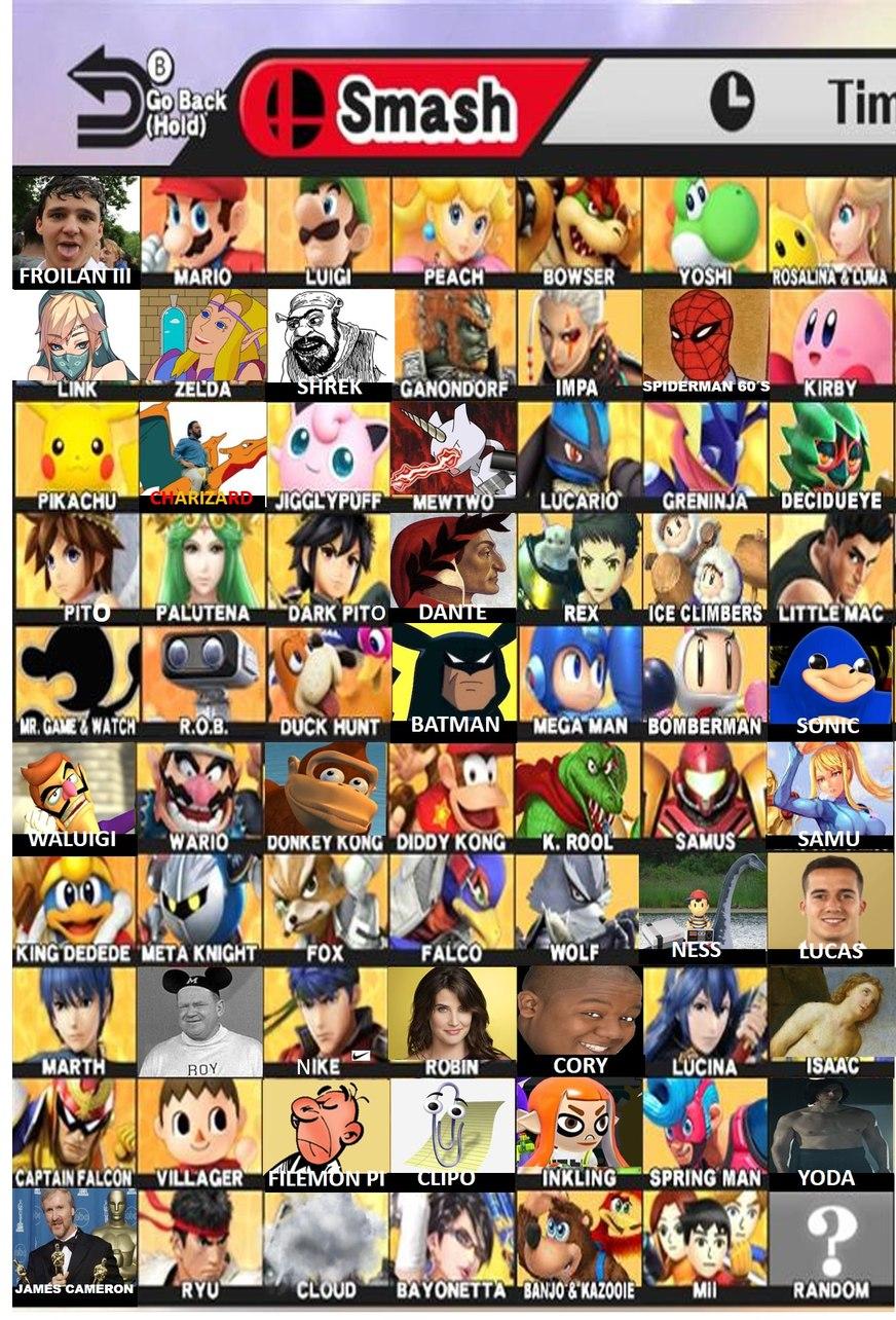 Filtración del roster del nuevo Smash Bros - meme