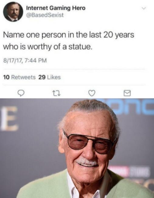Name a person in the last 20 years who is worthy of a statue - meme