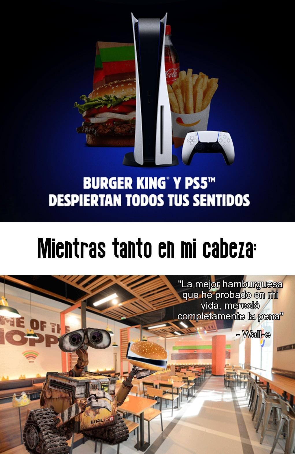 Lo que tiene en la mano es una hamburguesa con una PS5 dentro - meme