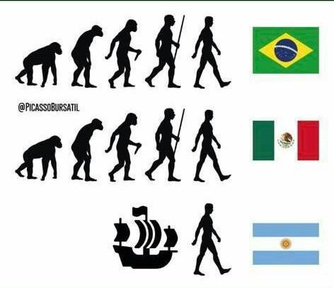 Evolução segundo a Argentina - meme