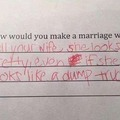 School Quiz Answer - This kid has real husband potential!