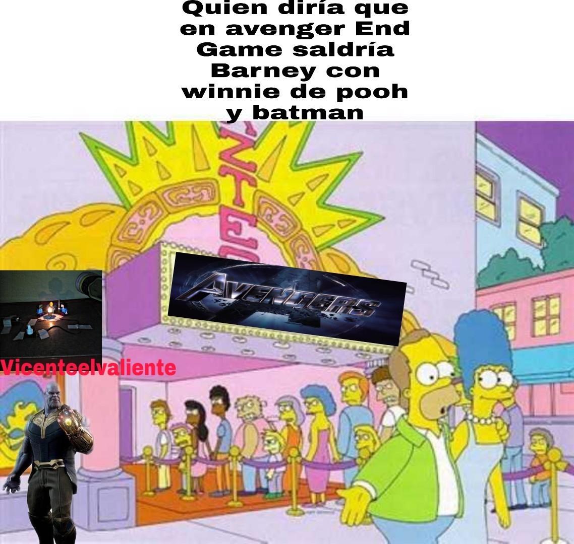 En el cine voy a gritar ¡al final aparece Barney! - meme