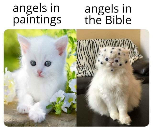 Angels in paintings vs angels in the Bible - meme