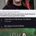 More than 80 firearms and three skulls found in Cannibal Corpse guitarist's home