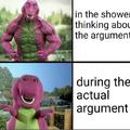 During argument vs after