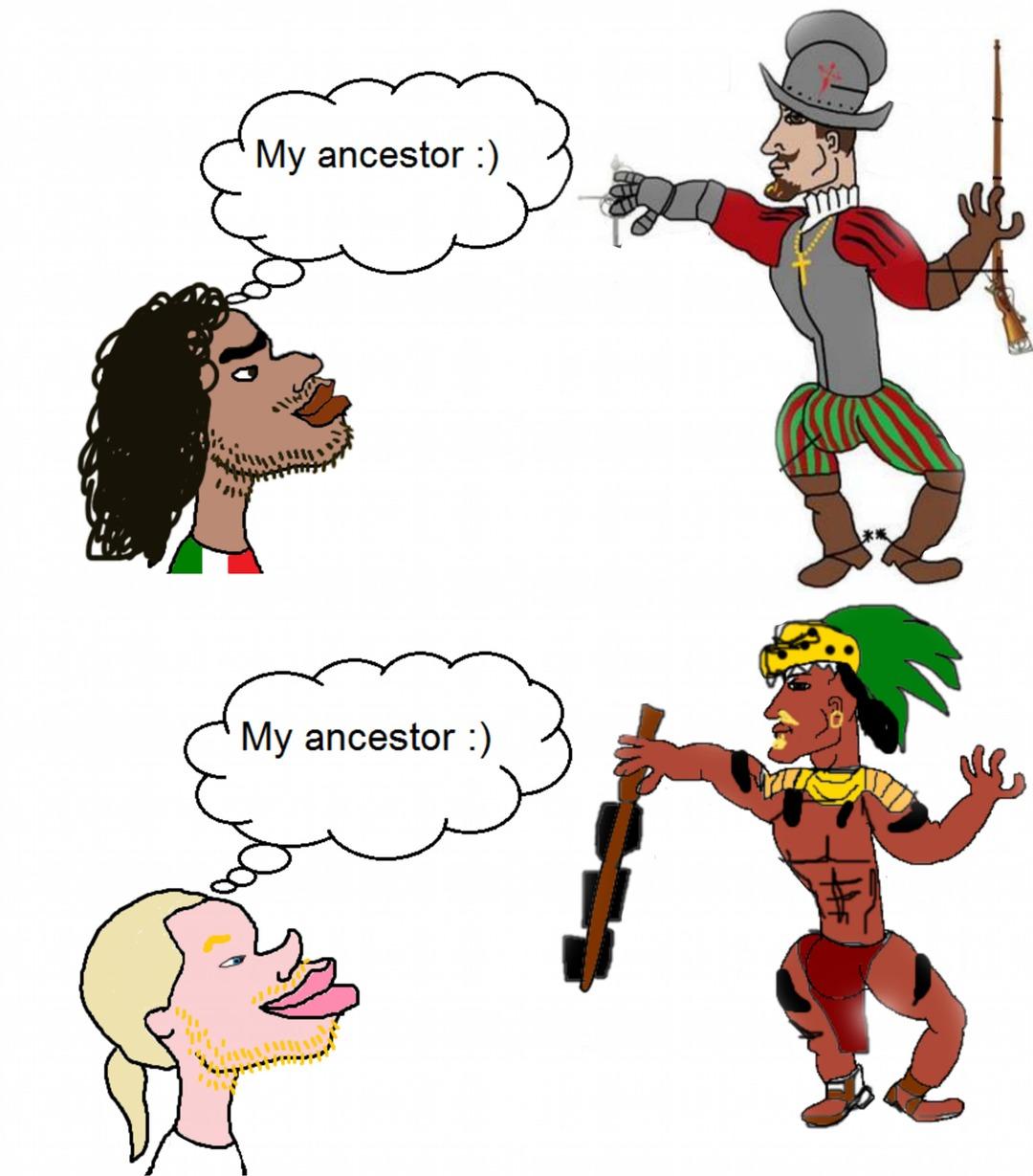 """Imagina la gente que se cree blanca por tener """"ascendencia"""" española - meme"""