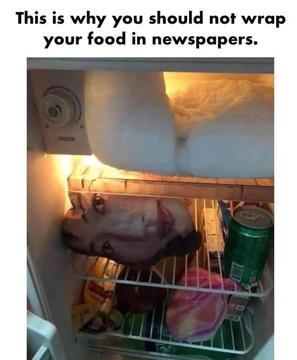 This is why you should not wrap your food in newspapers - meme