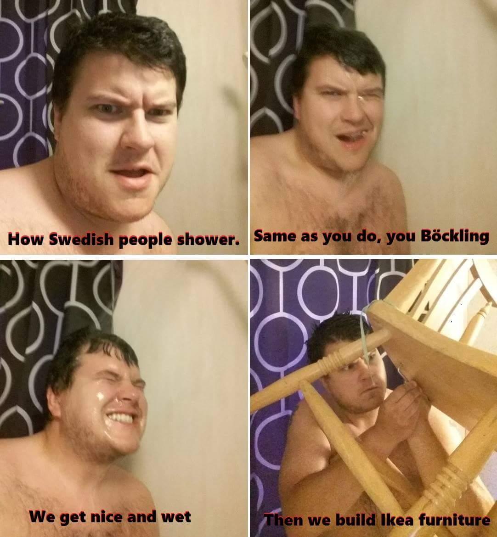 Showering: Swedish style - meme