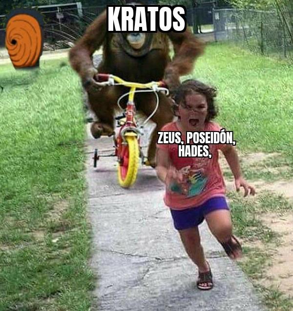 El título está siendo asesinado por kratos - meme