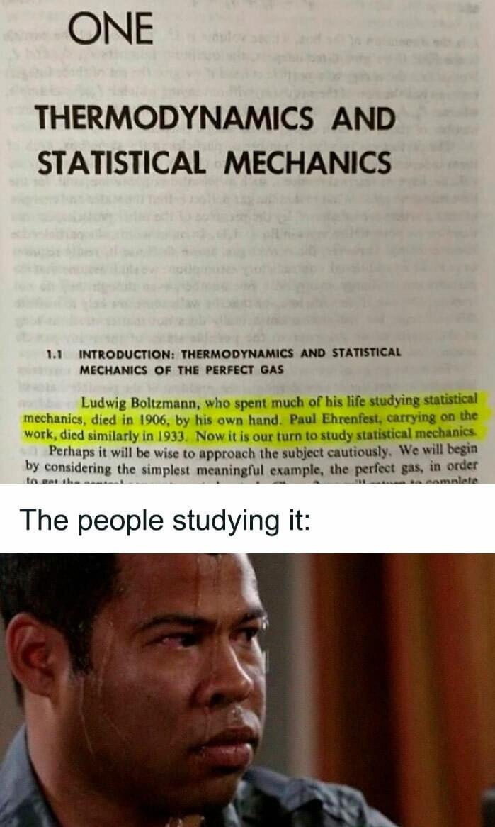 I stuDIED statistical mechanics - meme