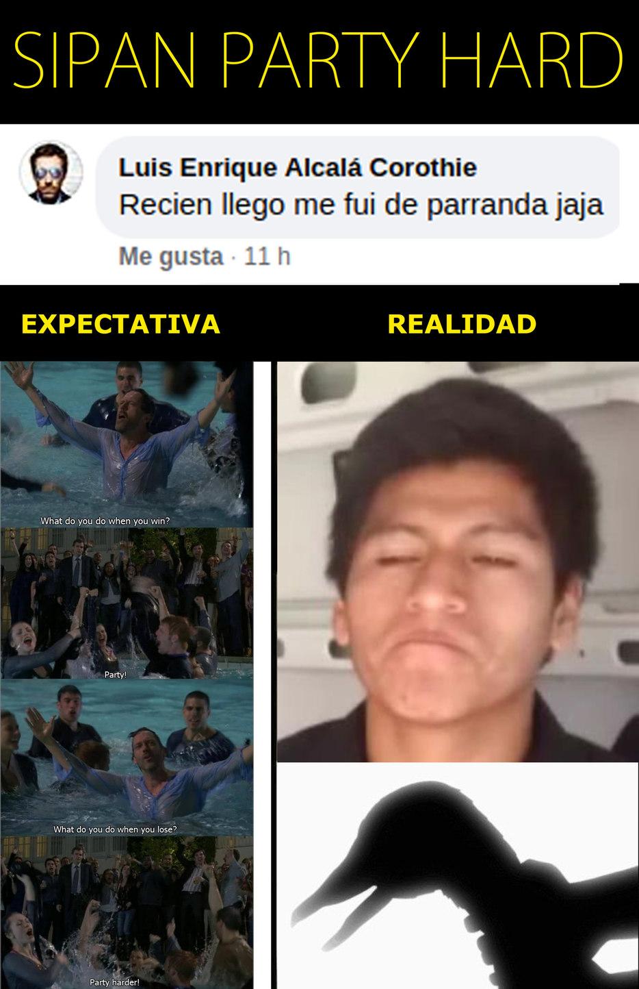 """Carlos Sipan  y sus """"fiestas desenfrenadas"""" - meme"""