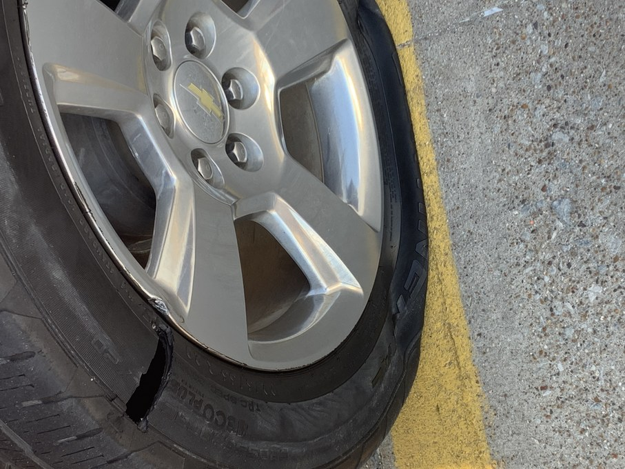 Ran over a big pothole and now there is a big hole in my tire - meme