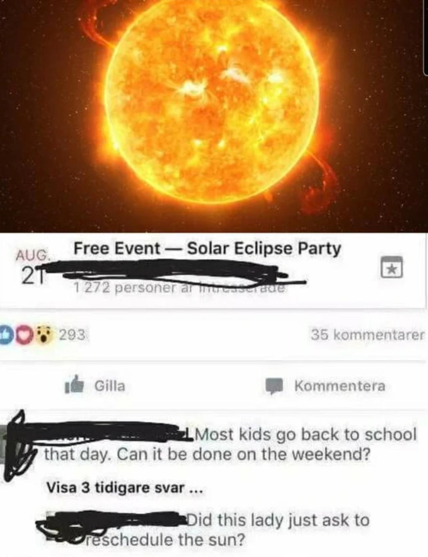 Reschedule the sun - meme