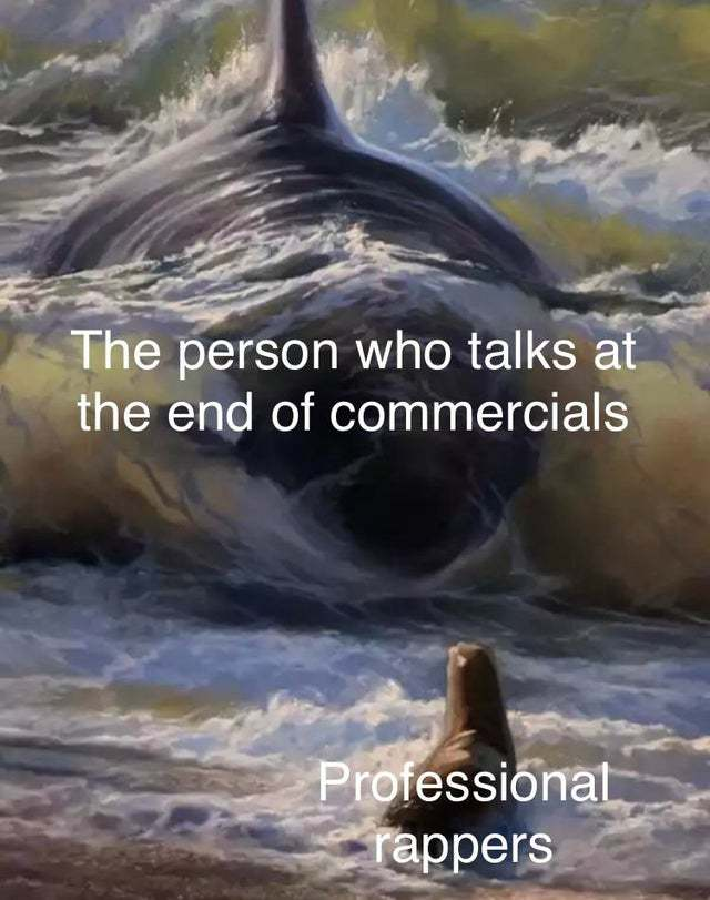 The person who talks at the end of commercials vs professional rappers - meme
