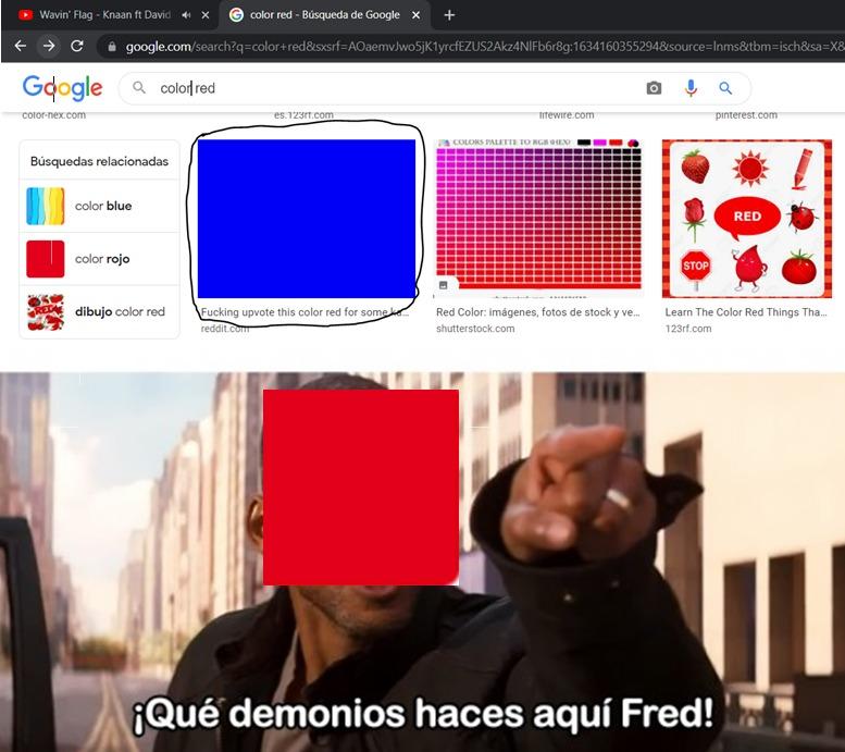 como que azul en rojo? - meme