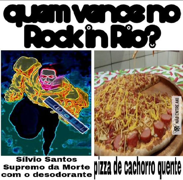 ultimate death silvio sanit whit a deodorant VS hot dog pizza - meme