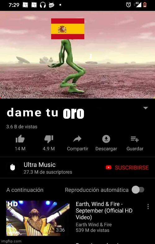 Dame tu Oro - meme