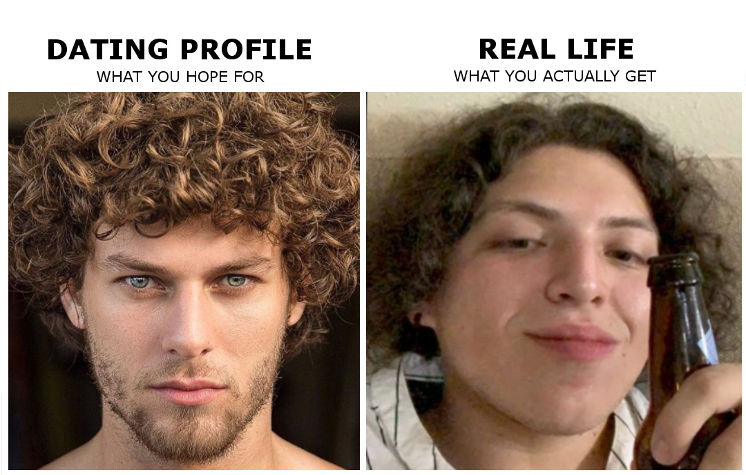 Online Dating Profile vs Reality - meme