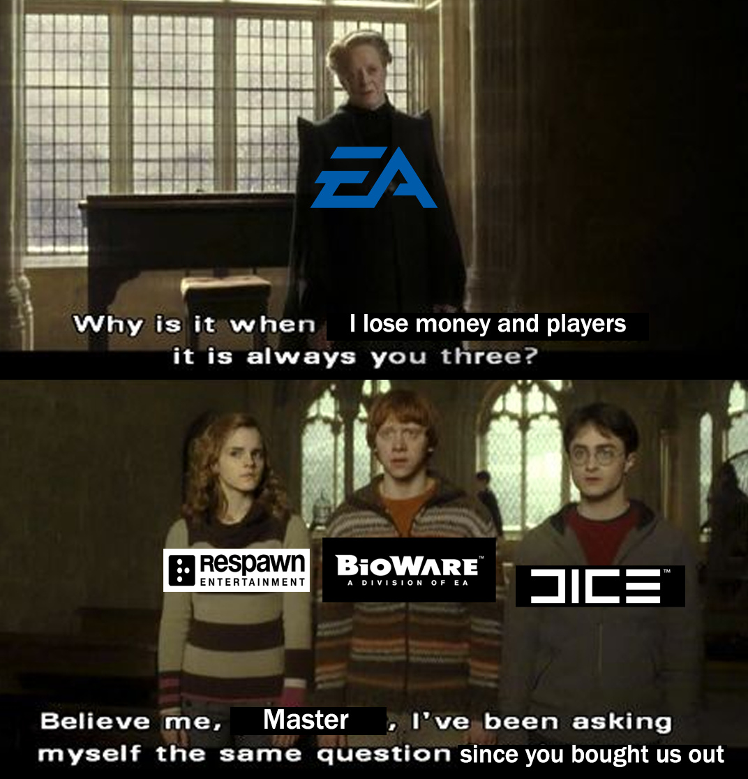 Bad time to be at EA right now: Bioware's leads are all but gone, COD is catching up with BF, and Apex devs fucked up - meme